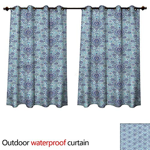 Outdoor Curtains for Patio Sheer Intricate Persian Paisley W55 x L45(140cm x 115cm) ()