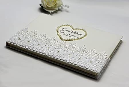 Wedding Guest Book Personalised Elegant Ivory Heart With Pearls Floral Lace Amazon Co Uk Kitchen Home