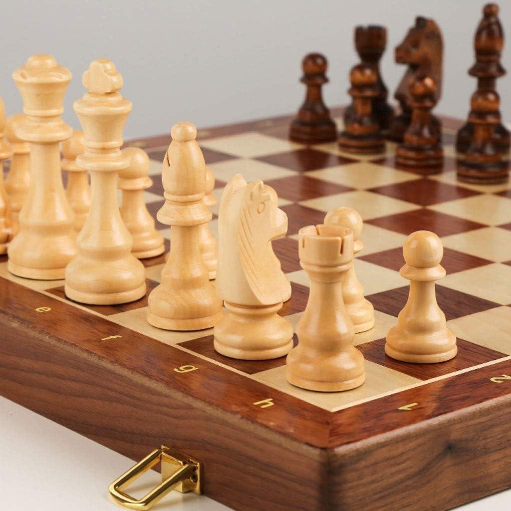 DUWIN Internationales Schachspiel Magnetische Schachspiele mit internen Aufbewahrungslaptops Folding Schachbrettspiele Geburtstagsgeschenk Schachspiel
