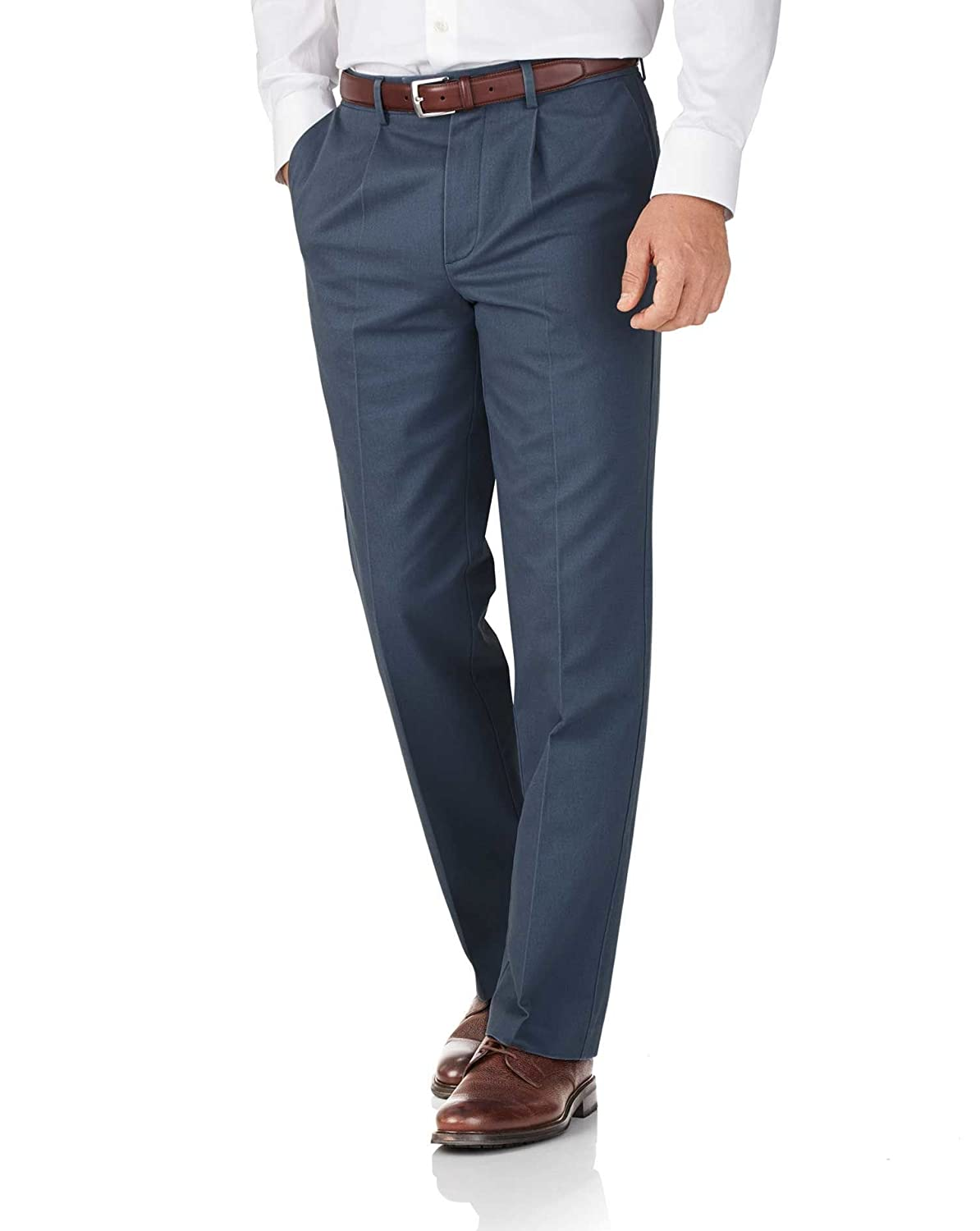 Airforce Blue Classic Fit Single Pleat Non-Iron Cotton Chino Trousers by Charles Tyrwhitt