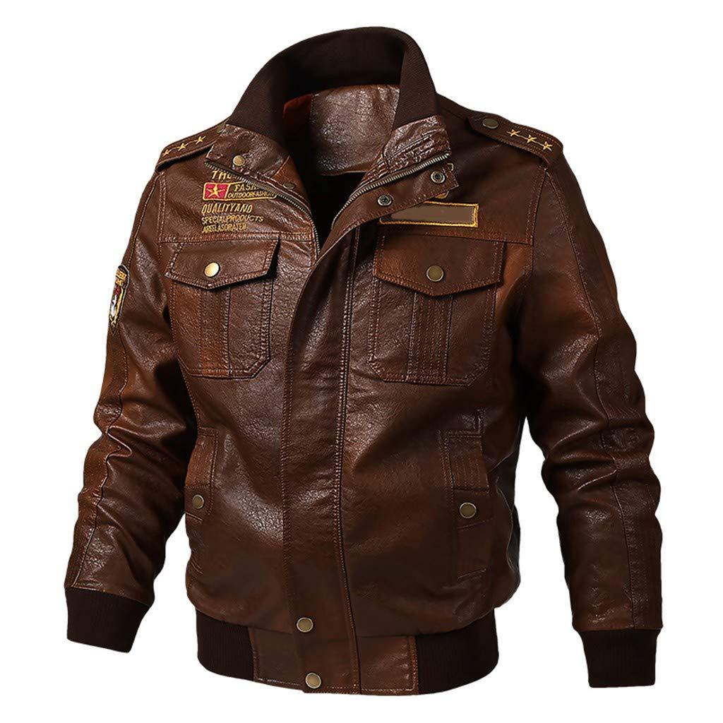 Men's Leather Jacket Vintage Stand Collar Motorcycle Biker Faux Leather Coat (Brown 2, L)