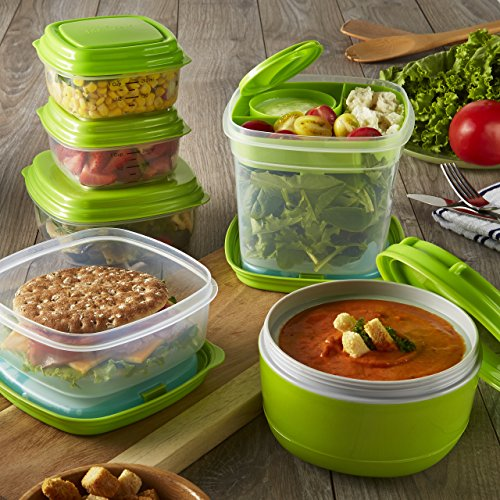 Fit & Fresh - Fresh Selects 17-Piece Reusable Container Set, Soup, Salad and Sandwich Lunch Kit with Removable Ice Packs, Portion Control, BPA-Free, Microwave/Dishwasher Safe
