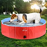 EXPAWLORER Foldable Dog Swimming Pool - Portable PVC Pet Bathing Tub for Outdoor Yard, Dog Whelping Box, (48' x 12') Large