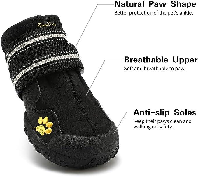 wasserdicht mit Anti-rutsch Sole passend f/ür mittlere und gro/ße Hunde schwarz Royalcare Hundeschuhe Pfotenschutz