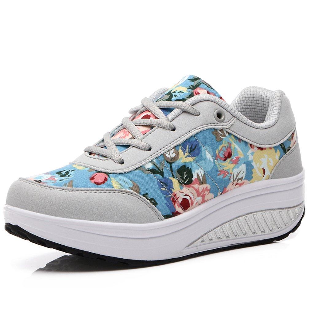 6bc13c112cda Solshine Damen Schuhe Fashion Plateau Schnürer Sneakers mit Keilabsatz  Walkmaxx Schuhe Damen Fitnessschuhe Grau 7 9b43c1