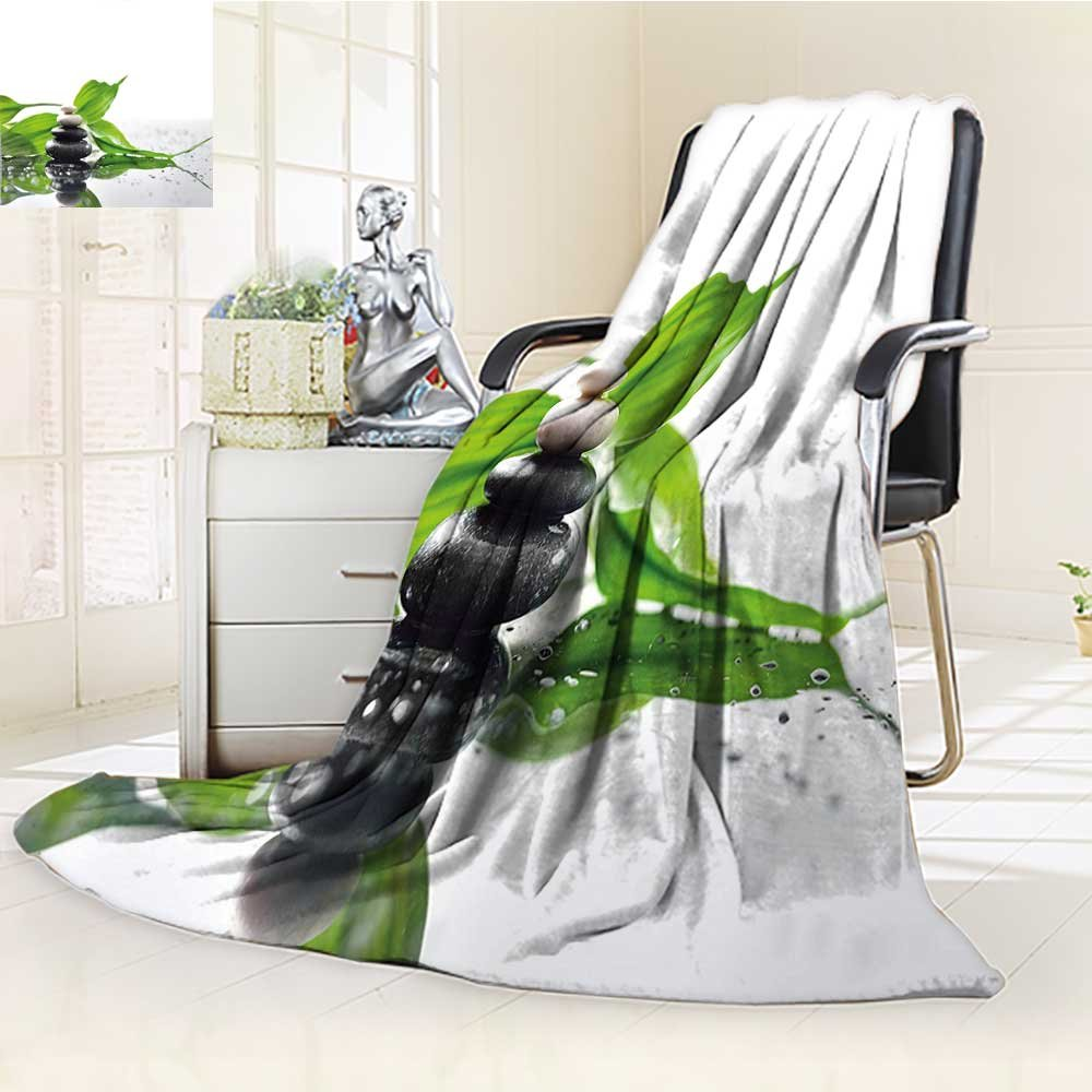YOYI-HOME Luminous Microfiber Throw Duplex Printed Blanket Spa Raindrops on The Leaves Side with White and Black Hot Massage Stones Green Black and White Blanket, Soft and Durable Polyester/W79 x H47