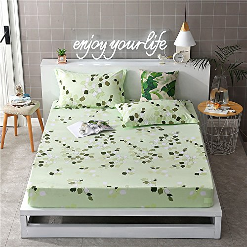 Fitted Sheet Bedsheet Without Pillowcases Used for Bedding Microfiber Single Double Bed ZF Twin Full Queen King Rose Lattice Leaf Triangle Design One Piece (Leaf Nature, Green, Full 53
