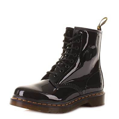 4a2a4526483 Dr. Martens Womens/Ladies Black Patent Leather Dm1460 Lamper Boots - Black  Patent - UK SIZES 3-7