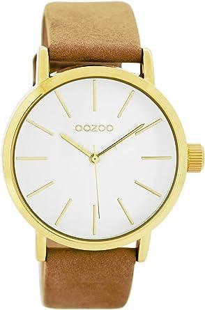 Oozoo Damenuhr mit Lederband 40 MM GoldWeissSand C7679