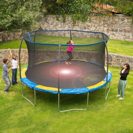 a kid jumping on bounce pro trampolines  with 12' size