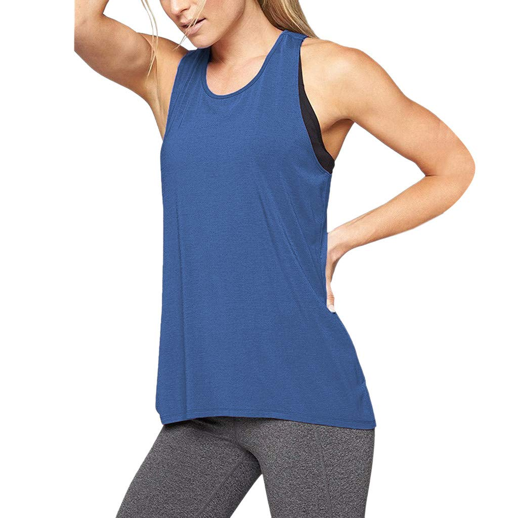 Dainzuy Yoga Tank Tops Activewear Workout Clothes Sports Vest Cross Back Sleeveless Tanks Casual Blouse Tops Blue