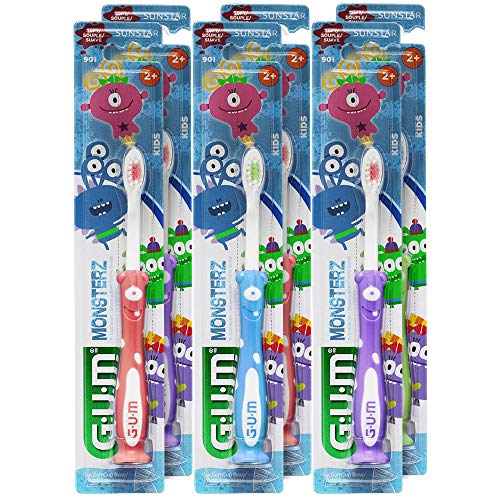 GUM Monsterz Kids and Toddler Toothbrush, Soft, Ages 2+, 1 Count (Pack of 6) (Kids Toothbrush)