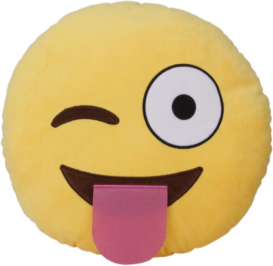 Amazon.com: Emoji Emoticon Cojín redondo almohada de peluche ...