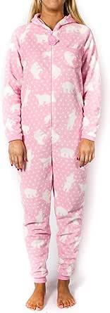Women's Pink Fleece Polar Bear Onesie