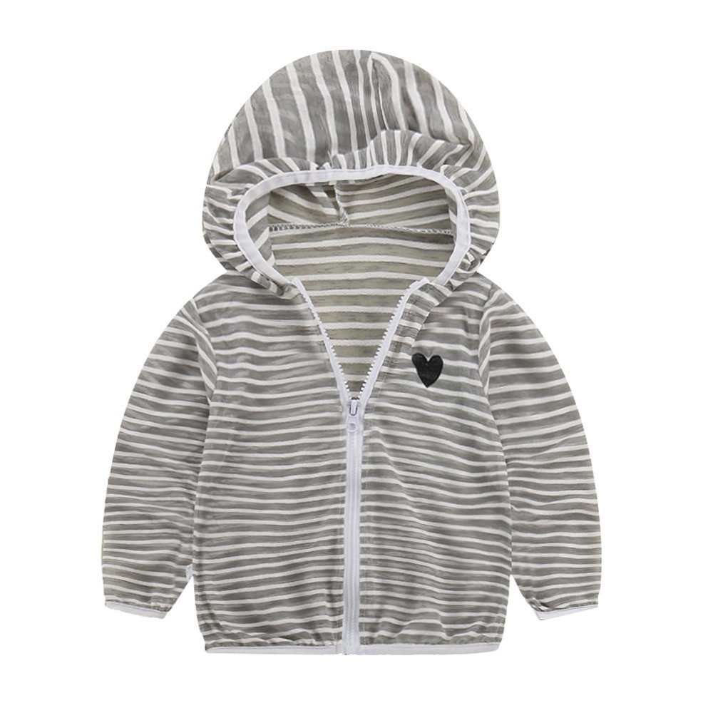 Toddler Baby Girls Boys Sunscreen Jackets Hooded Striped Outerwear Coats Infant Kids Cute Printed UV Sun Protection Summer Thin Jacket Zipper Long Sleeve Tops