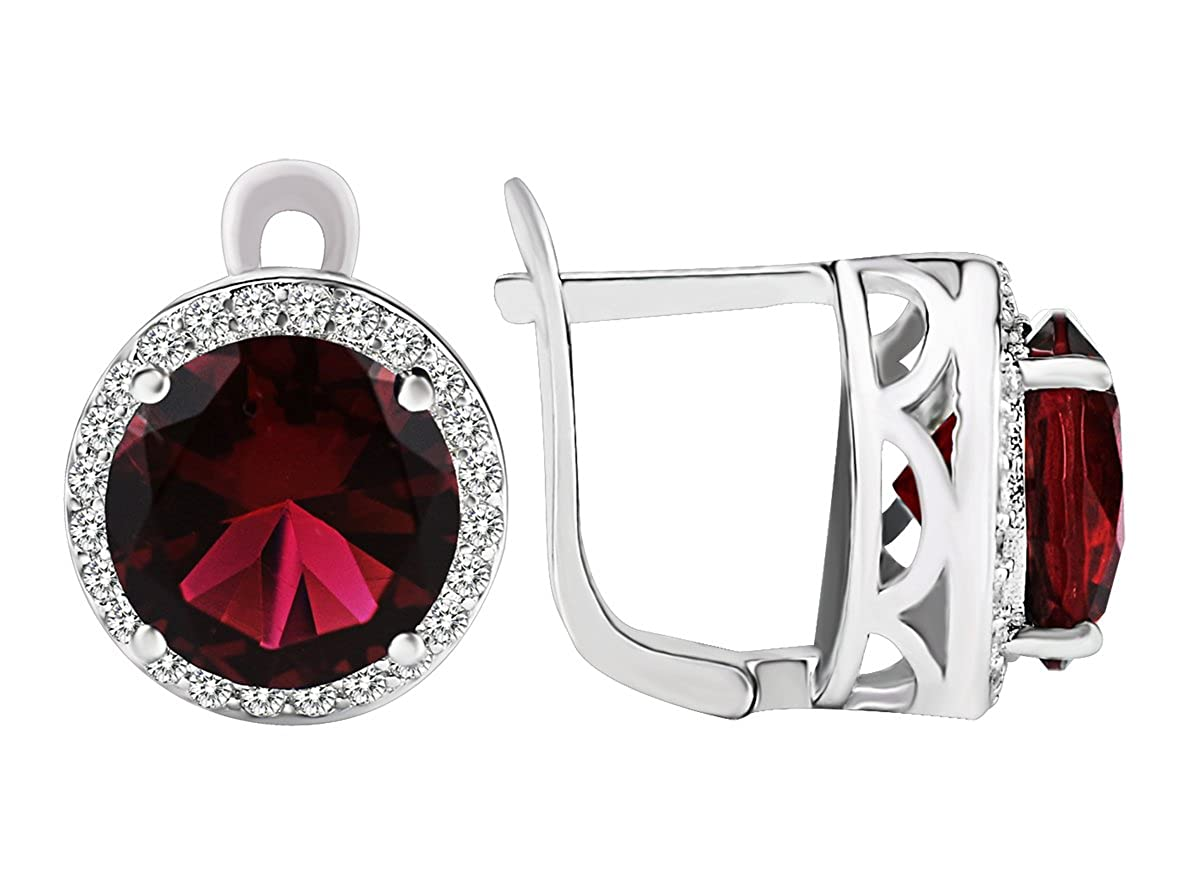 Elensan 925 Sterling Silver Emerald and Oval Clip-On Wine Red Ruby Crystal Earrings 5421234106