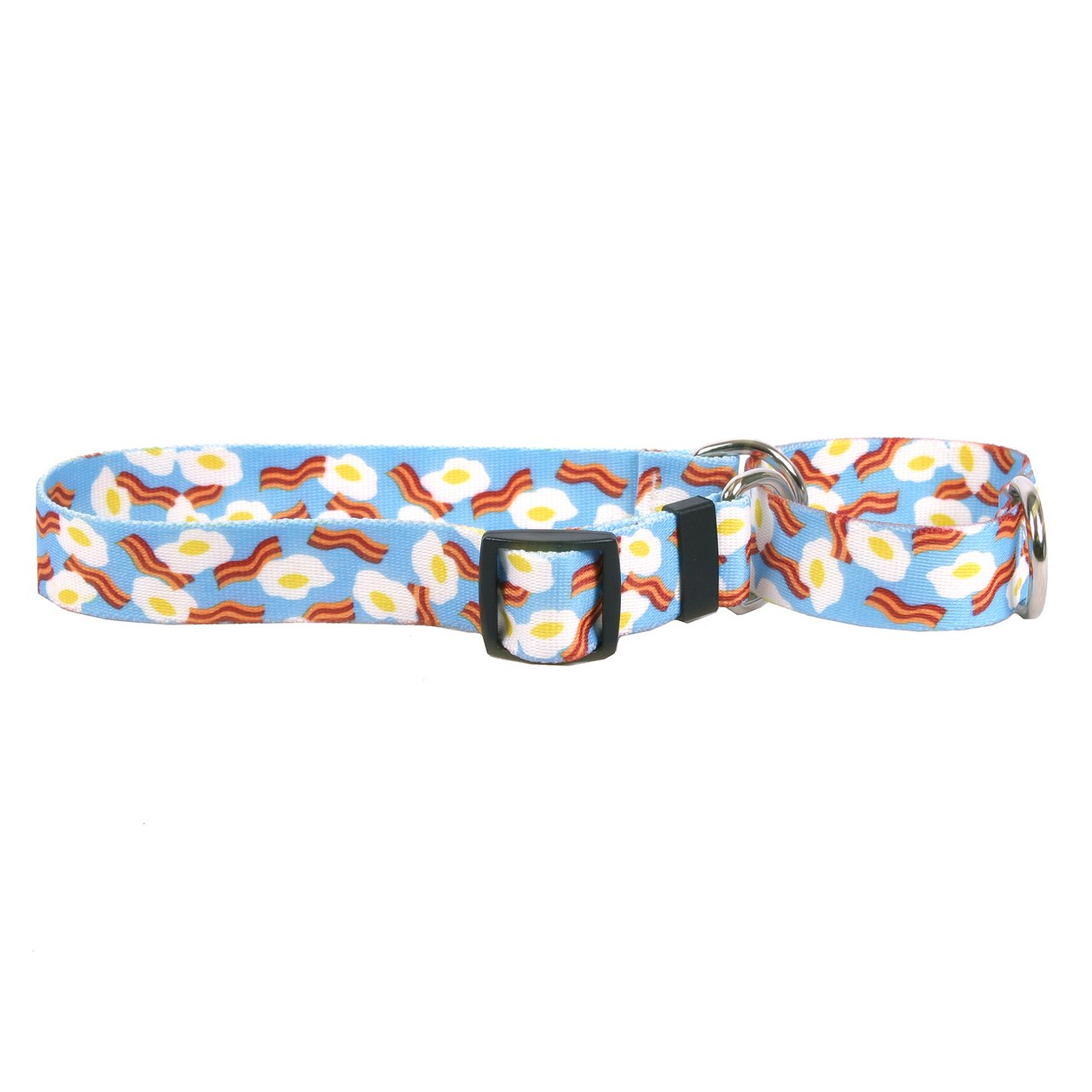 Large 26\ Yellow Dog Design Bacon And Eggs Martingale Dog Collar 1  Wide And Fits Neck 18 To 26 , Large