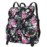 Vbiger Canvas Backpack for Women & Girls Boys Casual Book Bag Sports Daypack (Black(Floral))