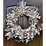 """Winter and Christmas Front Door Wreath with White Berries on Grapevine Base-20-22"""" Diameter"""