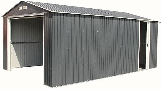 Imperial - Cobertizo metálico para garaje (3,7 m x 20 m), color gris oscuro con ribete blanco: Amazon.es: Hogar