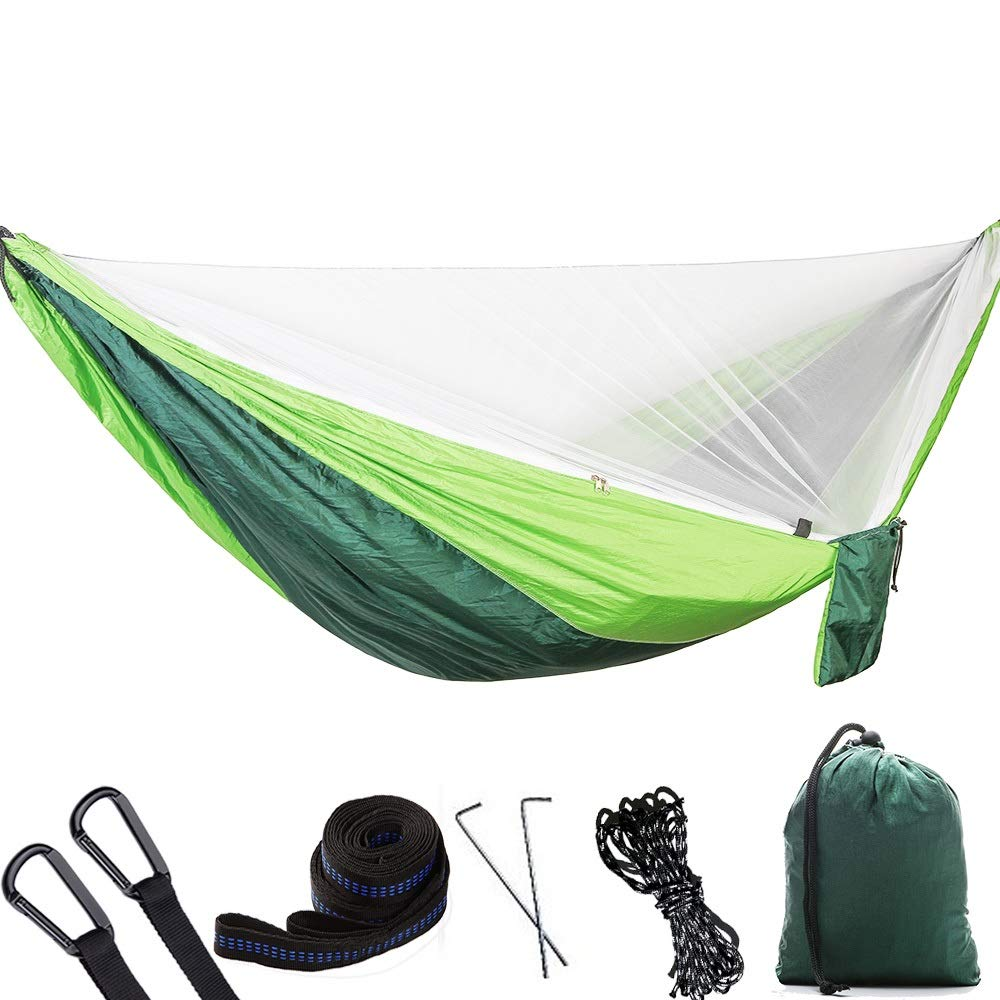 Jx Couple, Multi-Color Hammock Automatic Anti-Mosquito Outdoor Single Double Parachute Hammock with Mosquito Net Portable Hammock for Backpacking, Travel, Beach, Yard (Color : White net) by Jx