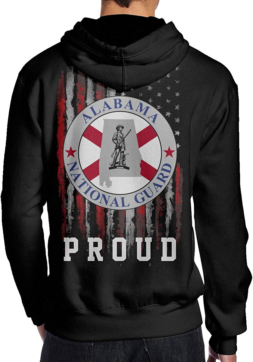 Proud American Flag Alabama National Guard Mens Hoodie Hooded Sweatshirt