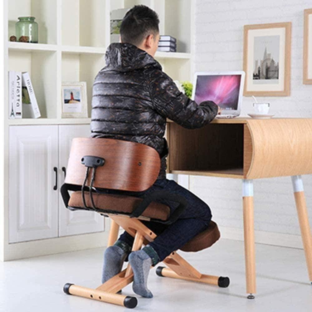 Knäböjningshållning kontorspall stol säte kontor knästolar ryggstöd armstöd hållning korrigering knäpall skrivbordsstol knästol knästol knästol (färg: Brun) BLÅ