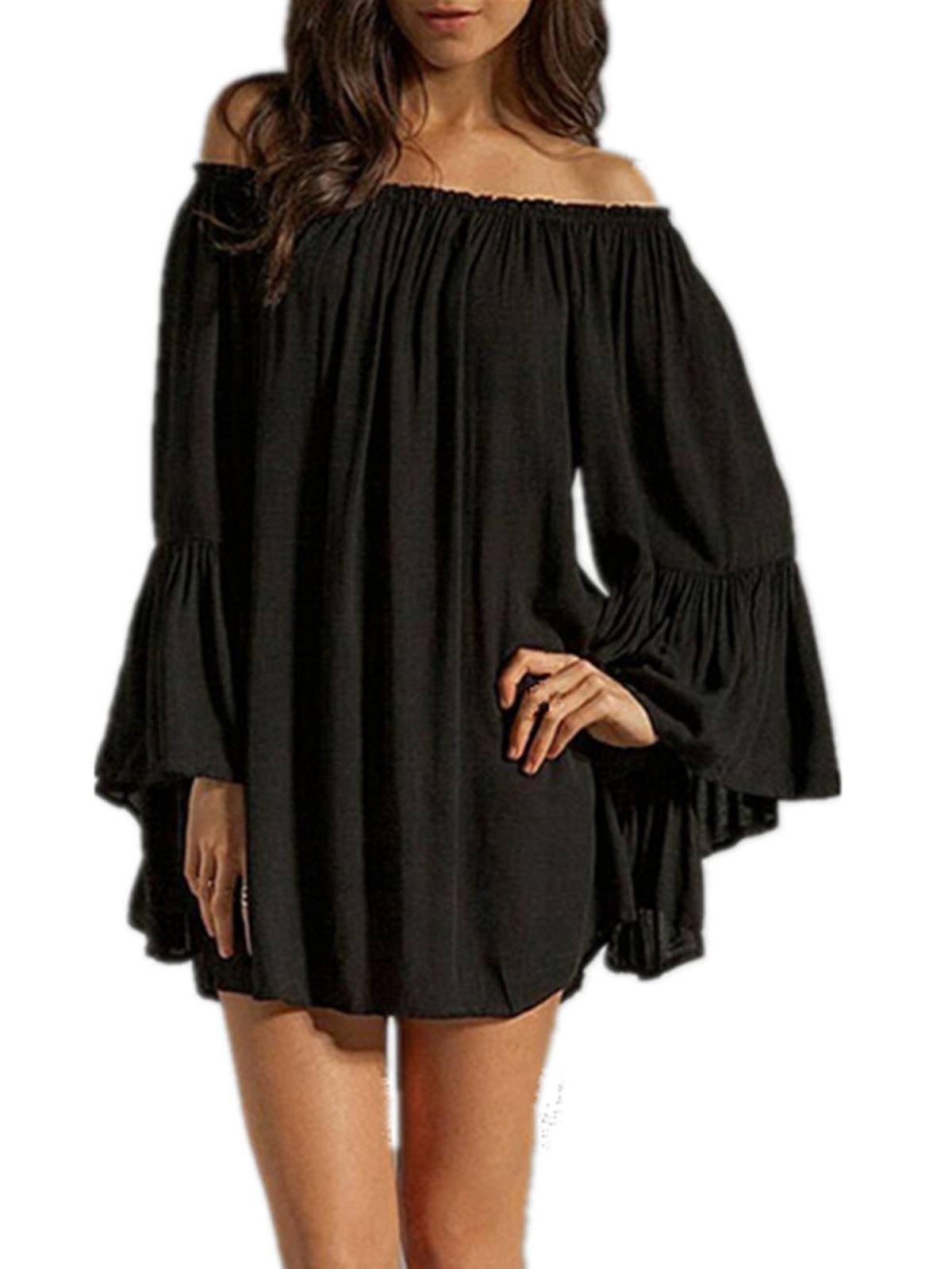 ZANZEA Women's Sexy Off Shoulder Chiffon Boho Ruffle Sleeve Blouse Mini Dress Black XL