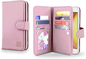 Gear Beast Flip Cover Dual Folio Case fits iPhone Xs MAX Wallet Case Slim Protective PU Leather Case 7 Slot Card Holder Including ID Holder 2 Inner Pockets Stand Feature Wristlet (Rose Gold)