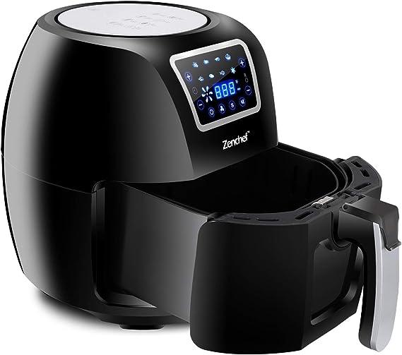 SUPER DEAL ZenChef PRO XXL Hot Air Fryer Family Size 5.8 Qt. 8-in-1 Digital Air fryer + Recipe Books