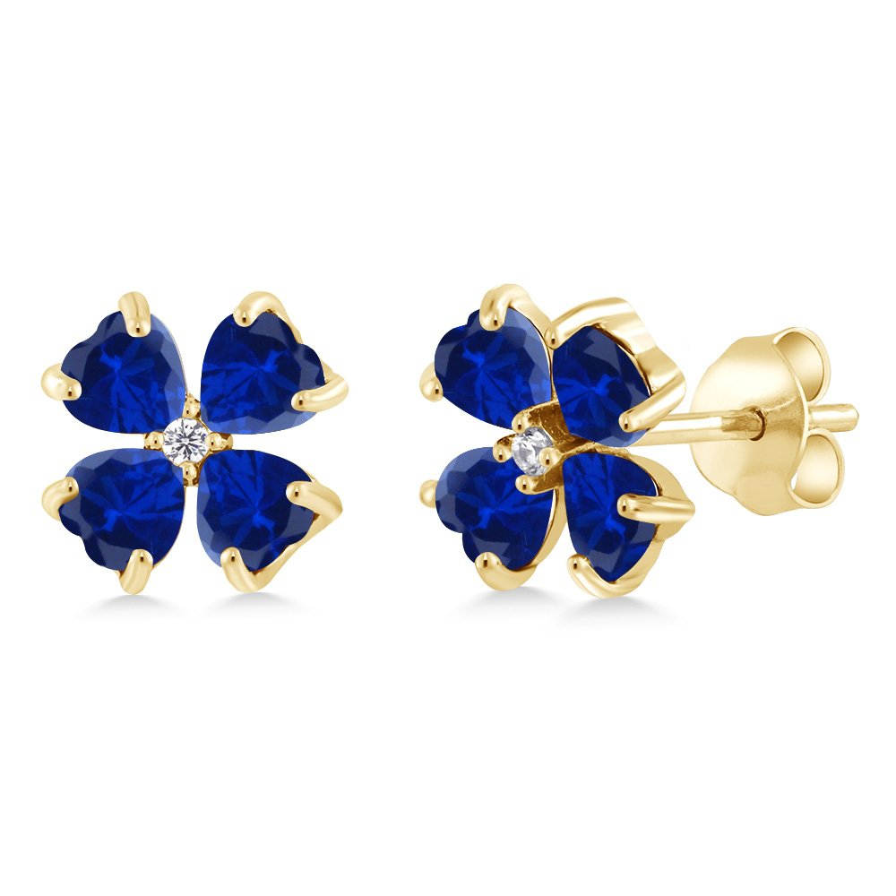 Gem Stone King 2.03 Ct Blue Simulated Sapphire 18K Yellow Gold Plated Silver Earrings