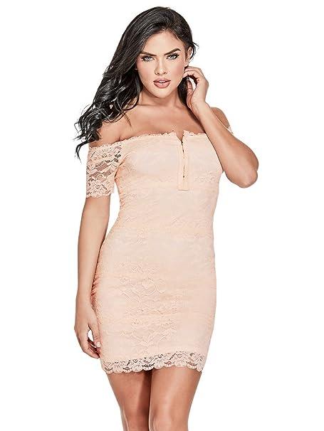 moderno y elegante en moda moda de lujo auténtica venta caliente GUESS Reina - Vestido Corto sin Hombros para Mujer: Amazon ...