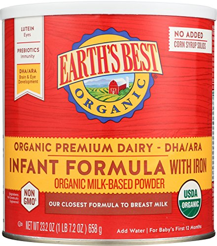 Price comparison product image Earth's Best Organic Infant Powder Formula with Iron, Omega-3 DHA & Omega-6 ARA 23.2 Ounce (Packaging May Vary)