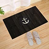Antique Old Barn Wood Background Nautical Anchor Door Mat Slip Indoor/Outdoor/Front Door Mat, Brown