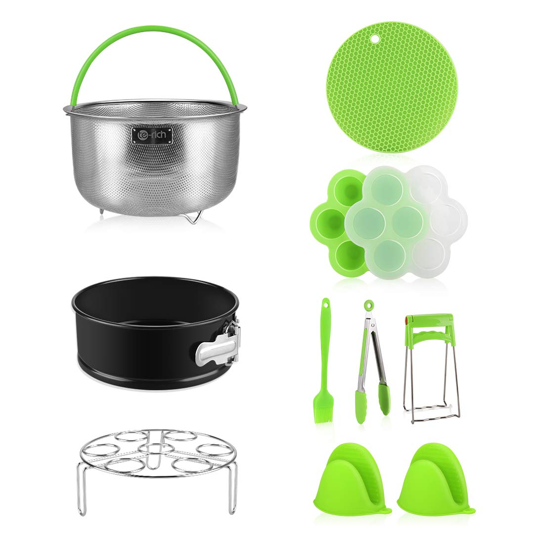 Pressure Cooker Accessories, Fit Insta Pot Instapot 6, 8 Qt - Stainless Steel Steamer Basket/Springform Pan/Silicone Egg Bites Mold/Egg Rack Trivet - 10 Pcs Accessory Set Compatible with Instant Pot