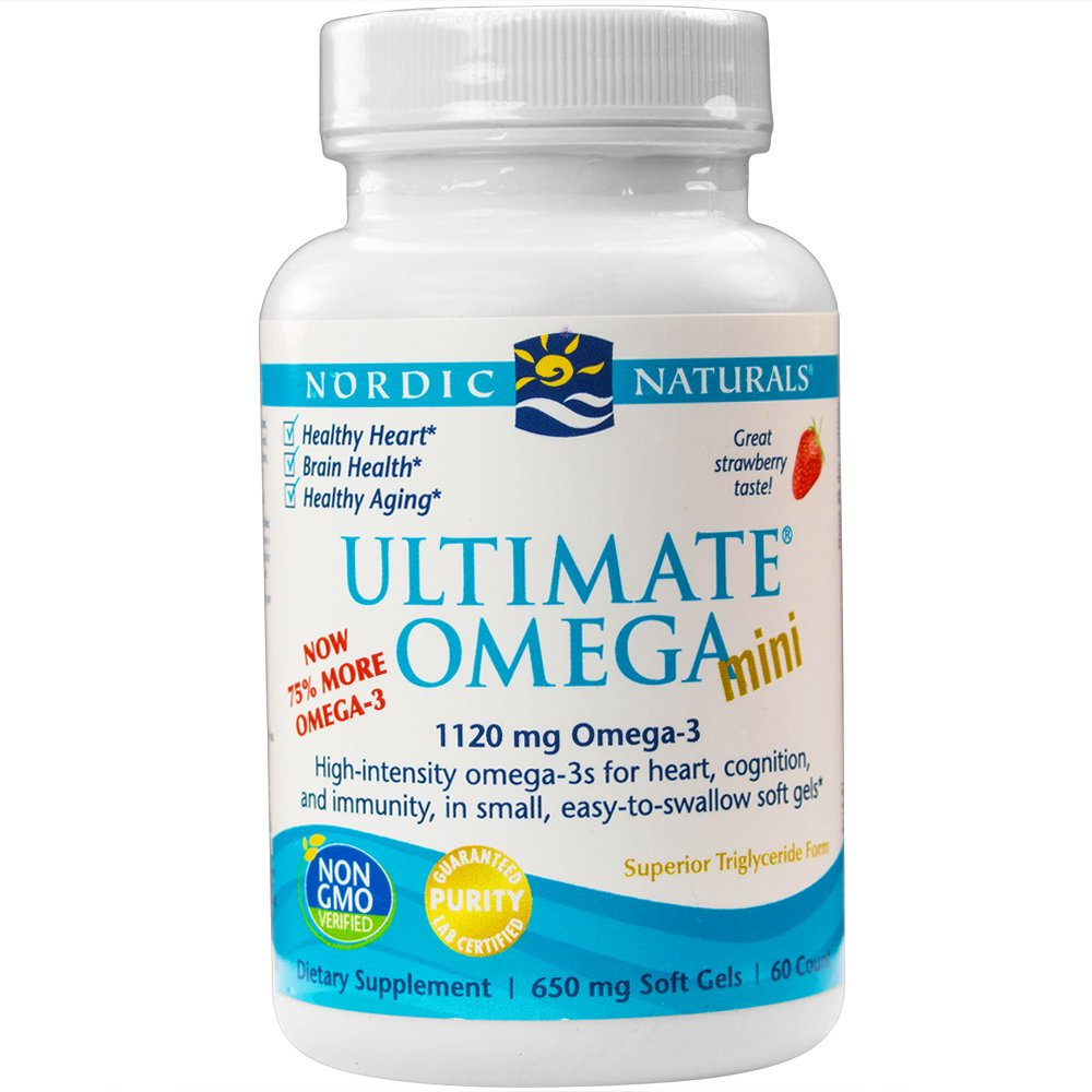Nordic Naturals - Ultimate Omega Mini, Support for a Healthy Heart, Strawberry, 60 Soft Gels (FFP)