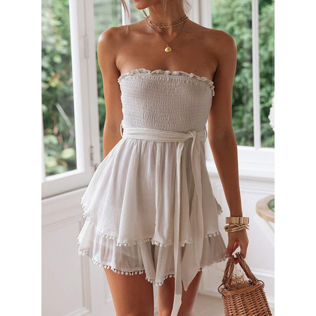 iHAZA Womens Slash-Neck Solid Ruffles Off-Shoulder Mini Dress with Belt Party Dresses