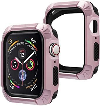 Hard Plastic Case with Black Rubber (2in1) Shock Resistant for Apple Watch 4th, 5th Generation Apple Watch Series 4, Series 5, 44mm (Rose Gold)