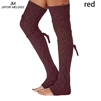 960ca515b48 UKCREATIVE UK Over Knee Long Socks Casual Thigh High Stockings Knitted Winter  Warm Leggings for Women Ladies  Amazon.co.uk  Sports   Outdoors