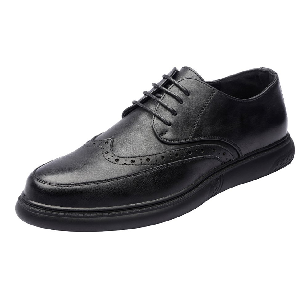 M Color : Brown, Size : 6.5 D US Zhukeke Mens Lace-up Loafers Shoes Breathable PU Leather Casual Business Soft Flats Outsole Oxfords Wear-Resistant