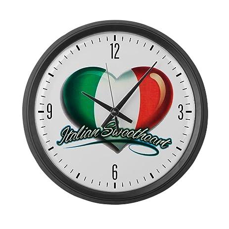 Amazon.com: Large Wall Clock Italian Sweetheart Italy Flag: Home ...