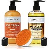 Anti-Cellulite Massage Oil, Gel & Mitt - 100% Natural Cellulite Treatment with Hot Cream Massage Gel, Oil & Massager…