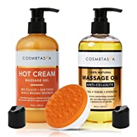 Anti-Cellulite Massage Oil, Gel & Mitt - 100% Natural Cellulite Treatment with Hot...