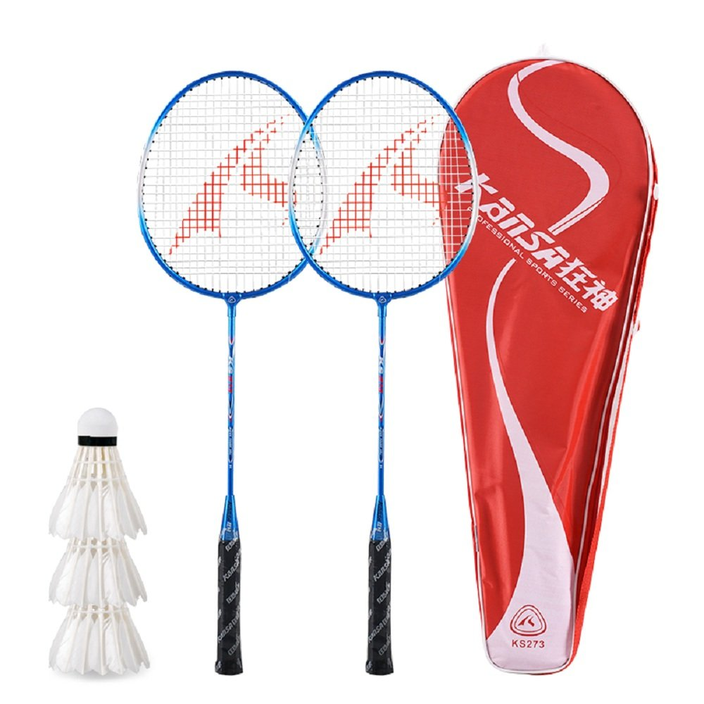 Amazon.com : Kansa 2 Player Badminton Racquets Set Double Rackets, 3 Shuttlecocks plus Carrying Bag Included : Sports & Outdoors