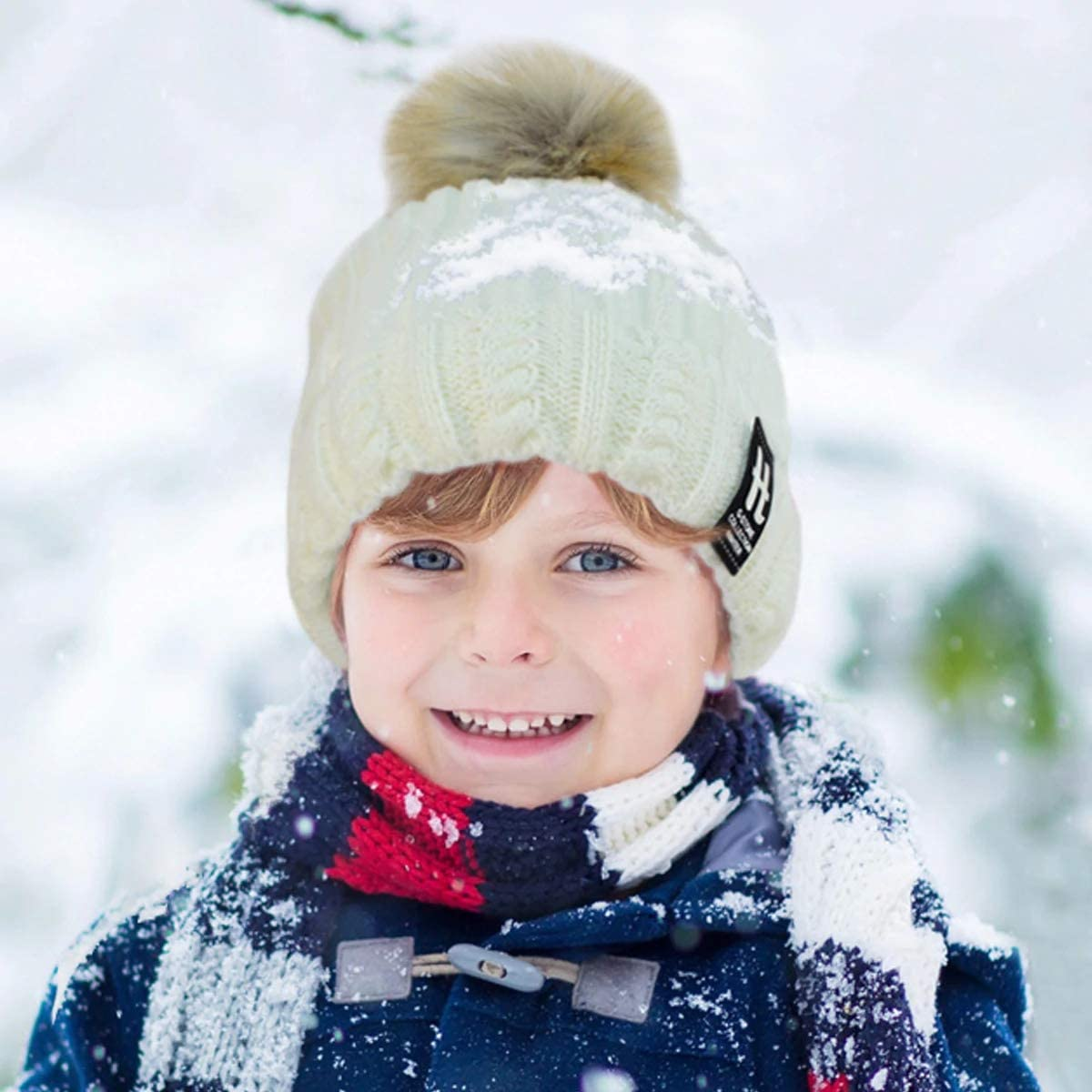 MJ-Young Winter Thick Hat Scarf Children Winter Warm Hats Scarf Two Faux Fur Pompoms Boys Girls