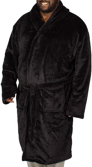 Bigdude Big Mens Plain Fleece Dressing Gown Black 2XL 3XL 4XL 5XL ... a408ea714