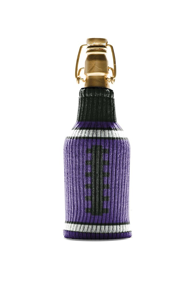 The Jock Itch Collection by Freaker USA Purple and Black Game Day Tailgating Bottle Insulator