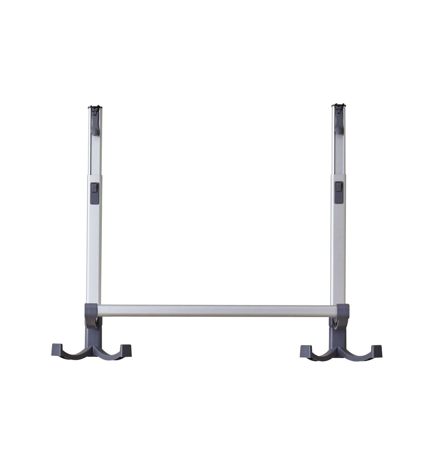 BathSense Height Adjustable Telescopic 20'' Over The Door Towel Rack with 4 Towel Hooks, Silver