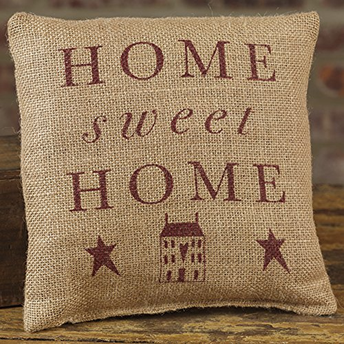 (Primitive Home Sweet Home 8 x 8 Burlap Decorative Throw Pillow)