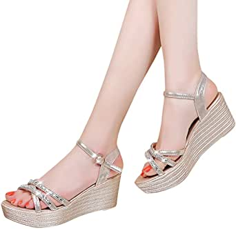 Behkiuoda Women Open Toe Wedges Sandal Summer Buckle Strap Hollow Out Outdoor Comfortable Casual Shoes